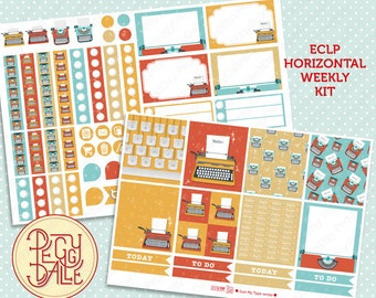 Just My Type(writer) Weekly Kit Planner Stickers | Erin Condren Horizontal | Typewriter | Vintage | Retro | Typing