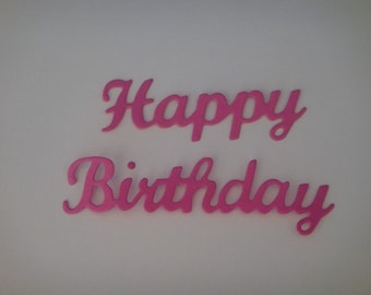 """Cut out """"Happy Birthday"""" in 2 parts dark pink"""