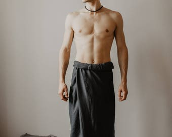 Longyi Mens Linen - Sarong  Linen Dhoti - Indian Pants -  Pareo  - Lavalava - Malong Mens Linen Homewear beachwear surf boho Hippie One size