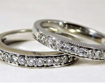 Dazzling 14k White Gold and Diamond Wedding/Anniversary Band Set
