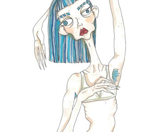 Hairy Armpits Girl A4 Art Print / hand drawn illustration done using promarkers then digitized and professionally printed