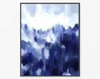 Blue abstract printable painting, printable blue abstract painting, abstract print, landscape abstract wall art, printable blue painting