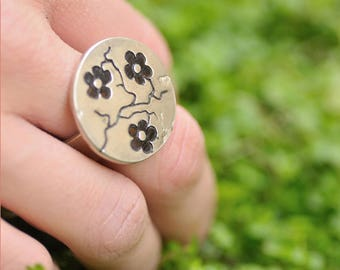 Black Cherry Blossom adjustable sterling silver ring