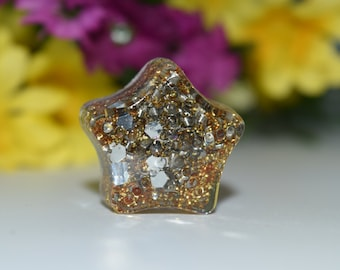 Orgone Energy Yellow Star Mini 1 pc -Quartz Crystal, Pyrite, Blue Kyanite