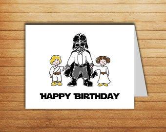 Star Wars Birthday card Darth Vader card Printable Happy Birthday card Luke Skywalker Princess Leia Star Wars gift for dad gift geek nerd