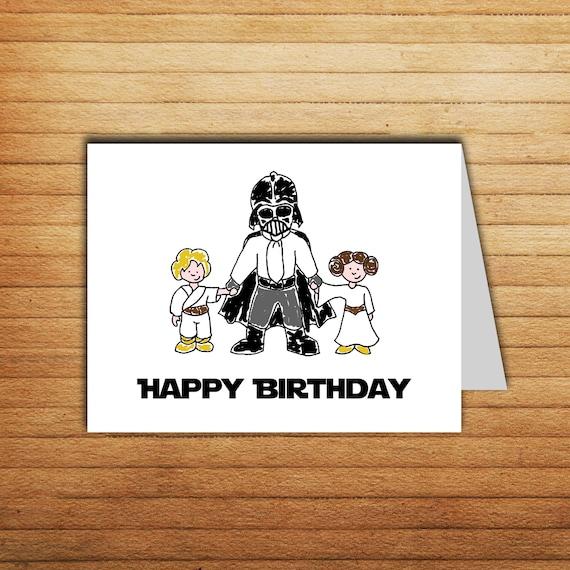 Star wars birthday card darth vader card printable happy star wars birthday card darth vader card printable happy birthday card luke skywalker princess leia star wars gift for dad gift geek nerd bookmarktalkfo Gallery