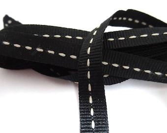 1 meter of black ribbon with ecru piping - 1 T 12 cm