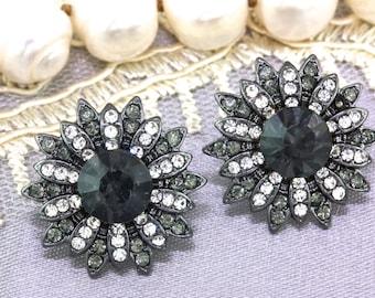 Black Crystal Stud Earrings,Bridal Earrings,Bridsmaid Wedding Earrings Gift Jewelry,Flower Stud Earrings,Prom Earrings,Gift for Her