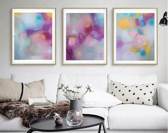 Triptych abstract, art posters, Prints from my original acrylic canvas abstract paintings,pink turquoise pastels, nursery art, bedroom print