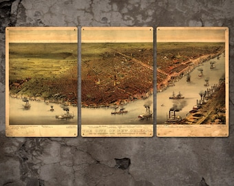 """Vintage Map of New Orleans METAL 48""""x24"""" Triptych FREE SHIPPING"""