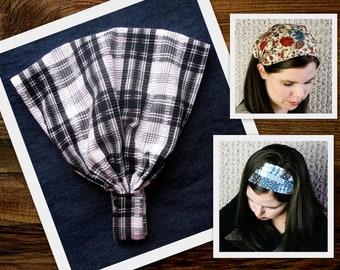 Adult Wide Black And White Headband Fabric Plaid Retro Head Scarf Head band Headscarf Hair Wrap Head wrap Head cover Hair Head covering