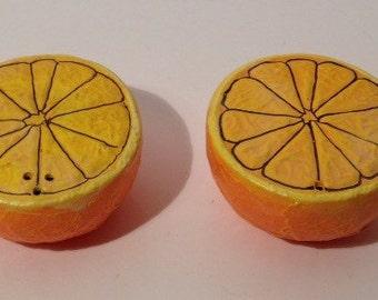Vintage Plasrltic Oranges Salt & Pepper Shakers