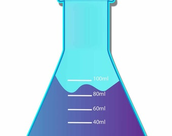 Erlenmeyer flask - SCIENCE GLASSWARE - Color Sticker Decal for computers, cars, ect.