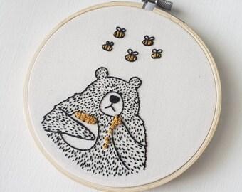 """Little Bear & the Buzz Buzz- 5"""" Handmade Embroidery Hoop - Wall Art"""