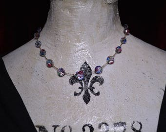 "Art Deco Aurora Borealis ( Rainbow) 17"" Faceted Crystal Necklace"
