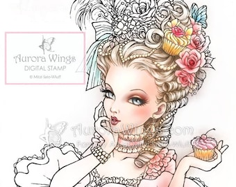 Digital Stamp - Marie Antoinette - Big Hair Rococo Beauty with Cupcake - Fantasy Line Art for Cards & Crafts by Mitzi Sato-Wiuff