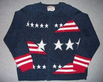 Proud To Be An American Star Spangled Sweater 4th Of July Tacky Gaudy Ugly Christmas Sweater Party Holiday X-Mas Zip Up L Large