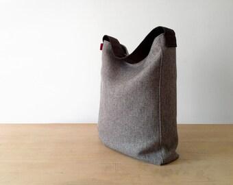 Hobo bag, tote bag, fabric bag, large bag, hemp bag, made in Italy.