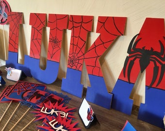 Spiderman Wooden Name Letters, Spiderman Birthday Letters, Spiderman Room Decor, Spiderman Party, Spiderman Name, Superhero Party, Superhero