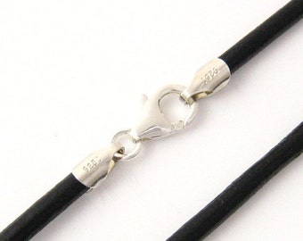 """2mm Black Leather Cord Necklace Silver Clasp 14"""" inches - 36"""" inches N2BLKOO_SS"""