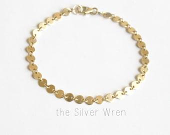 Simple Bracelet, Bridesmaid Gift, Rose, Silver or Gold Bracelet, Gifts under 30, Chain Bracelet, The Silver Wren