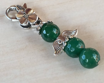 Green Agate Angel,Christmas Lucky Angel,Key Chain Jewelry,Bag Hand Angel,Gift Green Angel,Protector Guardian,Gift for Christmas,Brave Angel