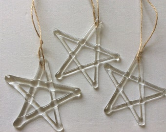 Fused Glass Star Decoration Ornament Window Hanging Gift Birthday Christening Present