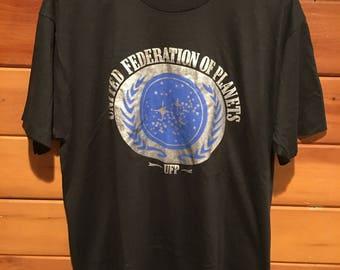 Vintage Star Trek Men's XL/L The Federation UFP United Federation of Planets 80s 90s Screen Stars Shirt