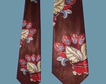 Vintage 50s Wide Satin Tie Leaf Print