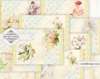 Vintage Printable Journal Kit. Instant Download.