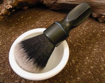 """Vintage handmade Shaving Brush """"BLACK"""" ABS Handle 24mm 1a Black&White TUXEDO Silvertip Badger Imitation Knot"""