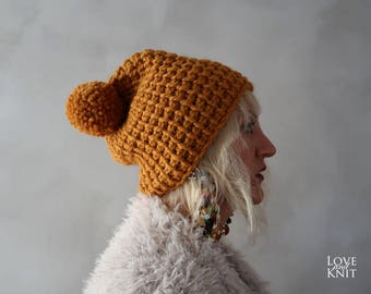 Chunky Hat - Chunky Pompom Hat - Pom pom Hat - Orange Beanie - Knit Hat - Chunky Beanie - Pom pom Beanie - Gift for Her - Christmas Gift