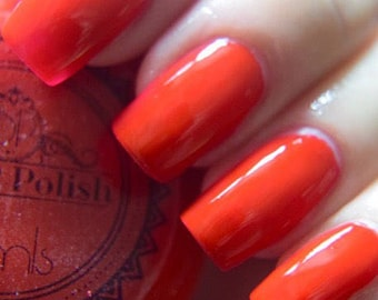 P.O.P Polish Love is A Battlefield Nail Polish Neon 80's Collection Red Uv Reflective Blacklight Top Coat Lacquer