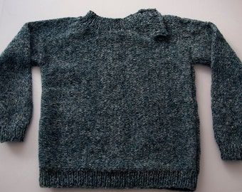 Handknitted Boys Jumper with Placket for 2 Year Old.