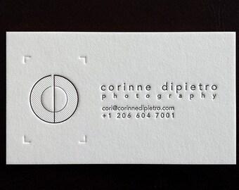 Letterpress Business Cards (1 Color + Blind Impression / 1 side), Crane's Lettra 600gsm (220lb)