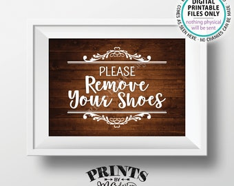"""Please Remove Your Shoes Sign, Take Off Your Shoes Sign, Mudroom Entryway Home Entrance, PRINTABLE 5x7"""" Rustic Wood Style Sign for Home <ID>"""
