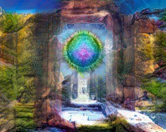 Every end a beginning large wall print spiritual art abstract art sacred geometry art gateway