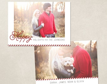 Digital Photoshop Christmas Card Template for photographers PSD Flat card - Red Stripes CC043