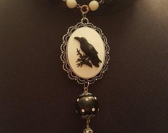 Crow raven acrylic cameo necklace