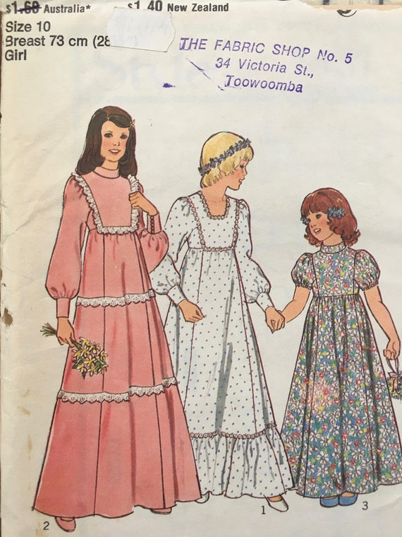Sewing Pattern No 1431 Style Childrens Bridesmaid Dress Size 10 ...