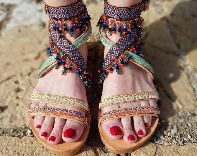 DHL FREE Greek sandals/gladiator sandals/luxury sandals/boho sandals/ethnic/crystal sandals/handmade/women shoes/strappy/wedding/bridal shoe