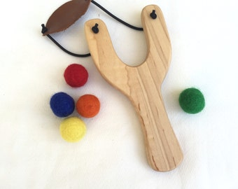 Wooden Slingshot and Felt Balls