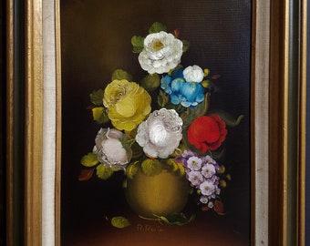 Unique and Colorful Floral Arrangement Original Oil Painting By R Rosini Framed