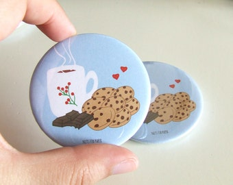Chocolate Chip Cookies! Blue Badge - 57mm Large Pin 2.25 inch - Illustration - Pinback Button