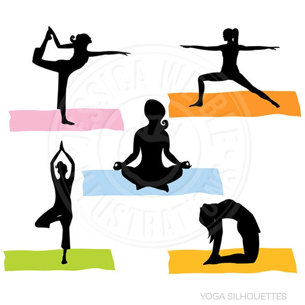 yoga silhouettes digital clipart commercial use ok yoga rh etsy com yoga clip art free yoga clipart black and white