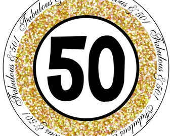 50th birthday stickers, gold and black party stickers, fiftieth birthday labels, fabulous at 50 stickers, gold fabulous at 50 labels