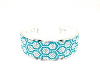 Cufflinks Bee Apis blue, white and silver beadwoven miyuki mounted on rigid support
