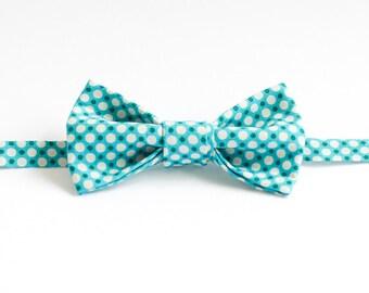 Handmade Bow Tie - Blue Polka Dot