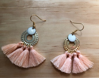 Earrings tassels Dream peach pink, gold plated