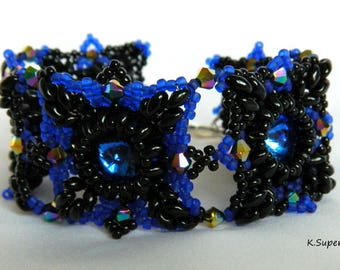 Handmade  beaded square Rivoli Saphire color ''The Night of Queen'' Braclet by Kristina Supergirl Jewellery